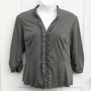 Torrid Size 4 Gray Ruffle Jacket 3/4 Sleeve